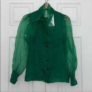 ZARA ORGANZA GREEN LONG SLEEVE BLOUSE
